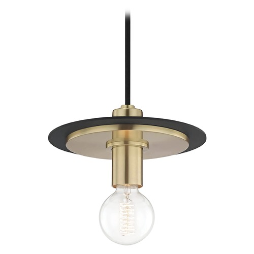 Mitzi by Hudson Valley Mid-Century Modern Mini-Pendant Light Brass / Black Mitzi Milo by Hudson Valley H137701S-AGB/BK