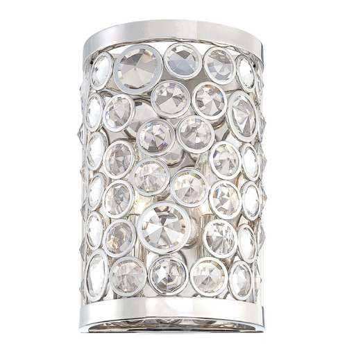 Metropolitan Lighting Crystal Sconce Wall Light in Polished Nickel Finish N2750-613