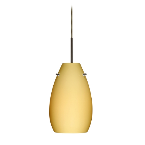 Besa Lighting Modern Pendant Light with Beige / Cream Glass in Bronze Finish 1JT-4126VM-BR