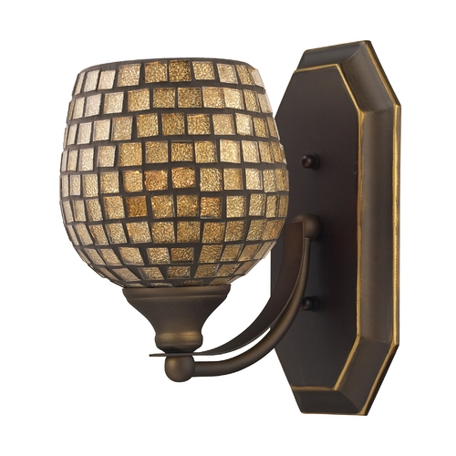 Elk Lighting Sconce with Art Glass in Aged Bronze Finish 570-1B-GLD