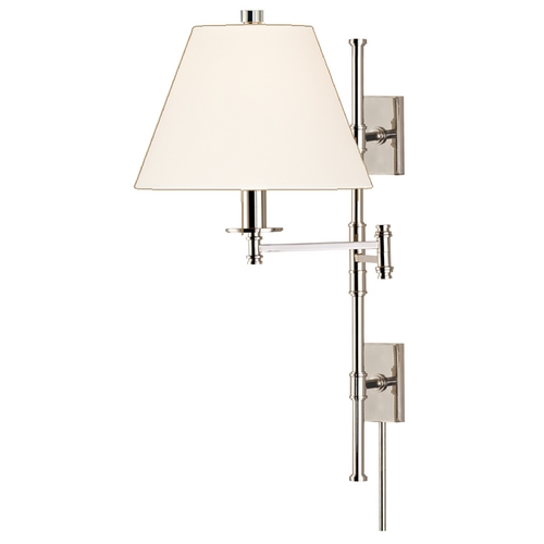 Hudson Valley Lighting Swing Arm Lamp with White Shade in Polished Nickel Finish 7731-PN-WS