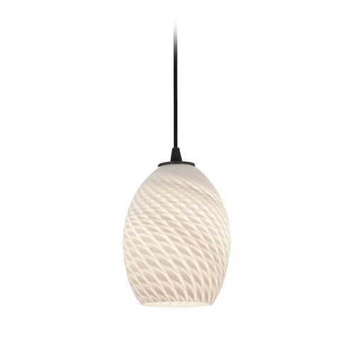 Access Lighting Modern Mini-Pendant Light with White Glass 28023-2C-ORB/WHTFB