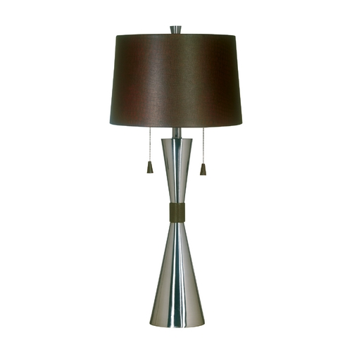 Kenroy Home Lighting Modern Table Lamp with Brown Shade in Brushed Steel Finish 02371