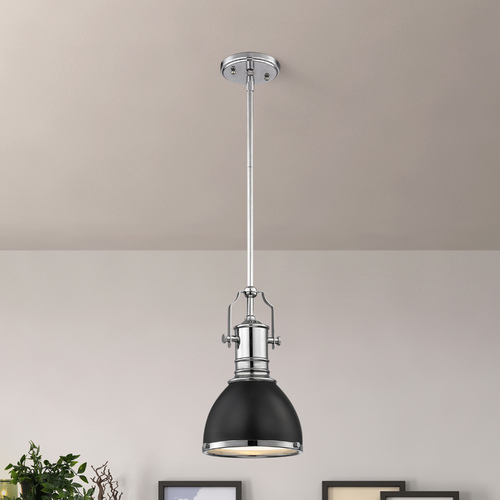 Design Classics Lighting Industrial Black Mini-Pendant Chrome Accents 7.38-Inch Wide 1765-26 SH1775-07 R1775-26