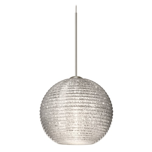 Besa Lighting Besa Lighting Kristall Satin Nickel LED Mini-Pendant Light with Globe Shade 1XT-4615GL-LED-SN