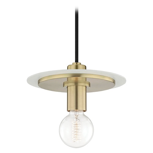 Mitzi by Hudson Valley Mid-Century Modern Mini-Pendant Light Brass / White Mitzi Milo by Hudson Valley H137701S-AGB/WH
