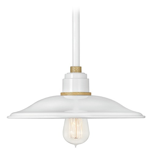 Hinkley Hinkley Foundry Gloss White / Brass Barn Light with Bowl / Dome Shade 10786GW