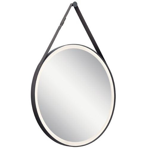 Elan Lighting Martell LED Illuminated Mirror with Matte Black Accents 3000K 450LM 86000MBK