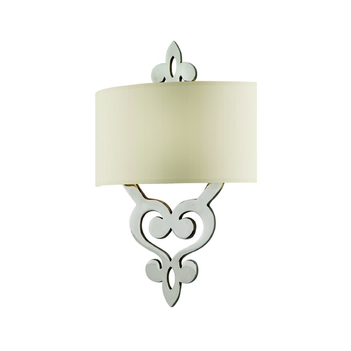 Corbett Lighting Sconce Wall Light with White Shade in Polished Nickel Finish 102-12