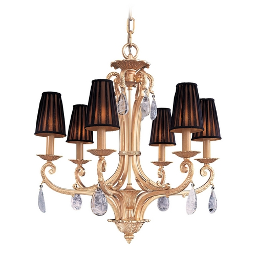 Metropolitan Lighting Crystal Chandelier with Black Shades in Antique Gold Plated Finish N950435