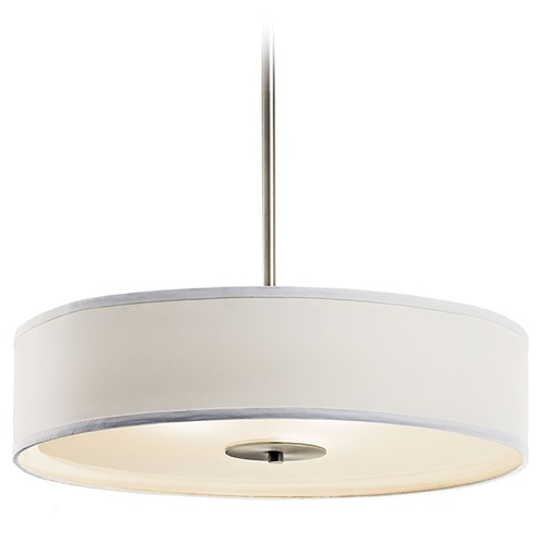 Kichler Lighting Kichler Pendant Light with White Drum Shade in Brushed Nickel 42121NI