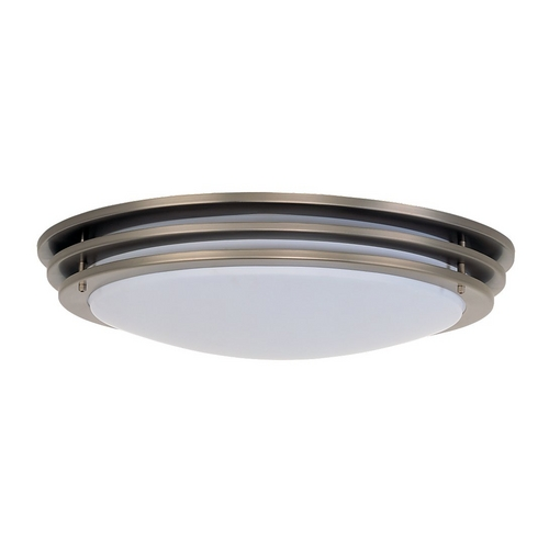 Sea Gull Lighting Modern Flushmount Light with White in Brushed Nickel Finish 59250BLE-962