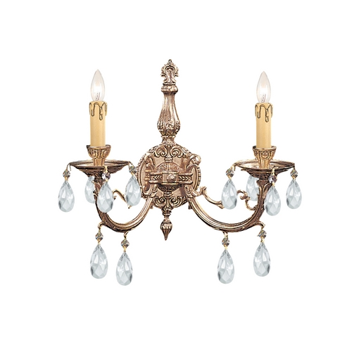 Crystorama Lighting Crystal Sconce Wall Light in Olde Brass Finish 492-OB-CL-MWP