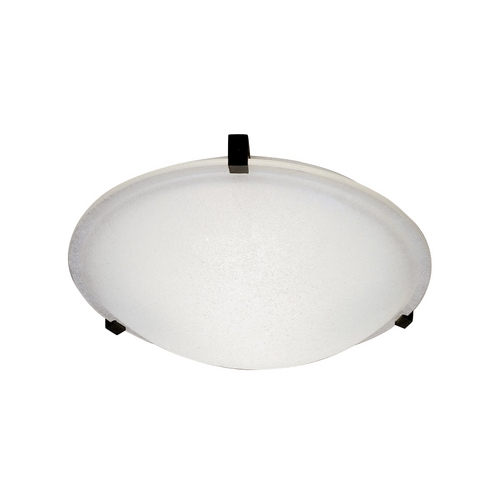 PLC Lighting Modern Flushmount Light with White Glass in Black Finish 3464 BK