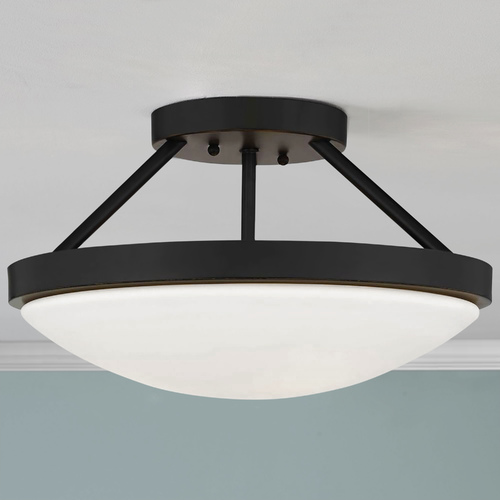 Design Classics Lighting 15-Inch Bronze Semi-Flushmount Ceiling Light with Satin White Glass 567-78