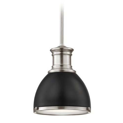Design Classics Lighting Industrial Mini-Pendant Black and Satin Nickel 7.38-Inch Wide 1761-09 SH1775-07 R1775-09