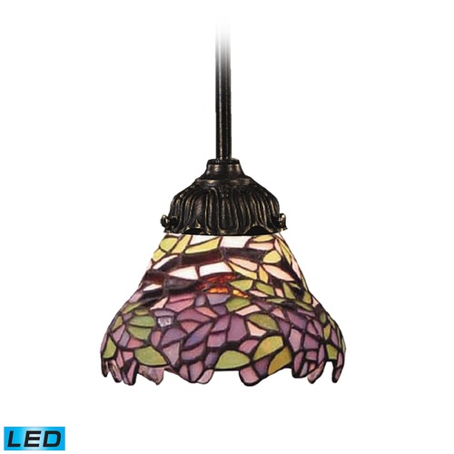 Elk Lighting Elk Lighting Mix-N-Match Tiffany Bronze LED Mini-Pendant Light with Scalloped Shade 078-TB-28-LED