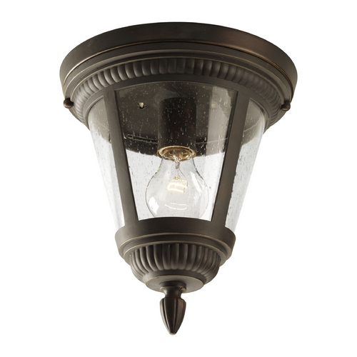 Progress Lighting Seeded Glass Outdoor Ceiling Light Bronze Progress Lighting P3883-20
