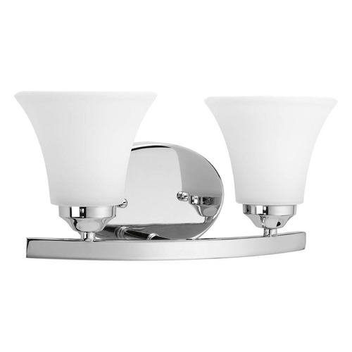 Progress Lighting Modern Bathroom Light with White Glass in Polished Chrome Finish P2009-15