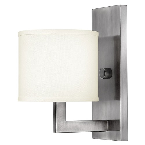 Hinkley Lighting Modern Sconce Wall Light with White Shade in Antique Nickel Finish 3210AN