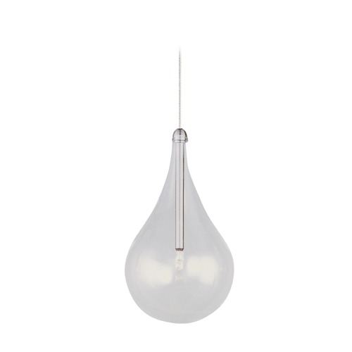ET2 Lighting Larmes Satin Nickel Mini-Pendant Light with Globe Shade E94310-18SN