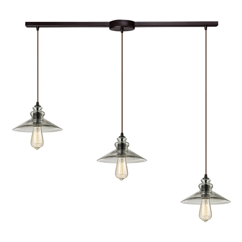 Elk Lighting Multi-Light Pendant Light with Grey Glass and 3-Lights 10332/3L
