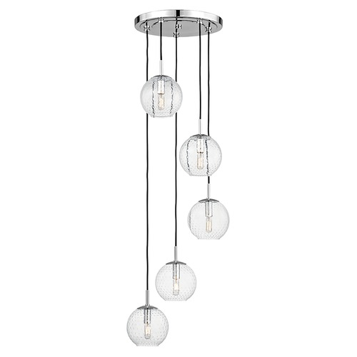 Hudson Valley Lighting Mid-Century Modern Multi-Light Pendant Chrome Rousseau by Hudson Valley Lighting 2035-PC-CL