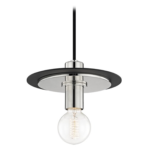 Mitzi by Hudson Valley Mid-Century Modern Mini-Pendant Light Polished Nickel / Black Mitzi Milo by Hudson Valley H137701S-PN/BK