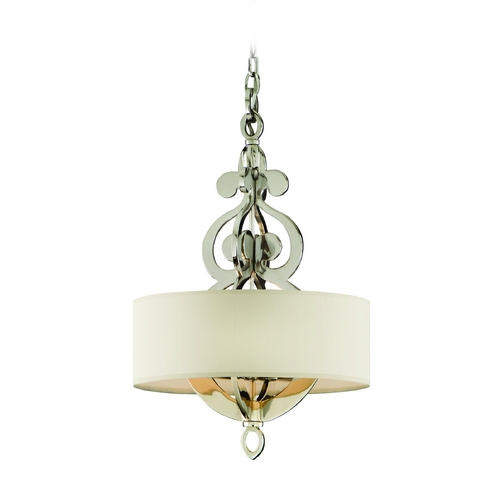 Corbett Lighting Drum Pendant Light with White Shades in Polished Nickel Finish 102-44