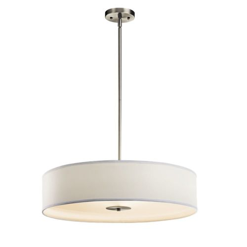 Kichler Lighting Kichler Pendant Light with White Shades in Brushed Nickel Finish 42122NI