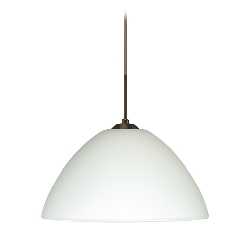 Besa Lighting Modern Pendant Light with White Glass in Bronze Finish 1JT-420107-BR