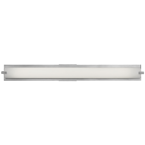 Access Lighting Modern Bathroom Light with White Glass in Brushed Steel Finish 31011-BS/OPL