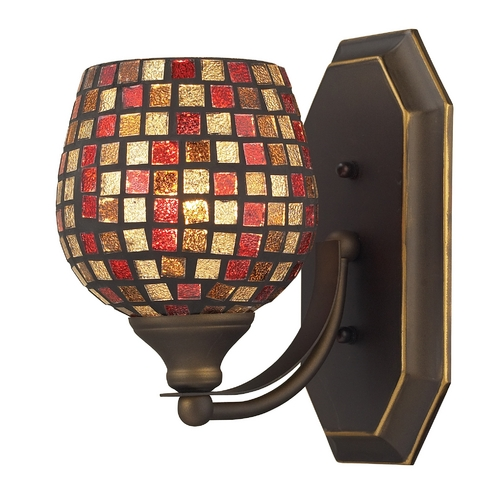 Elk Lighting Sconce with Art Glass in Aged Bronze Finish 570-1B-MLT