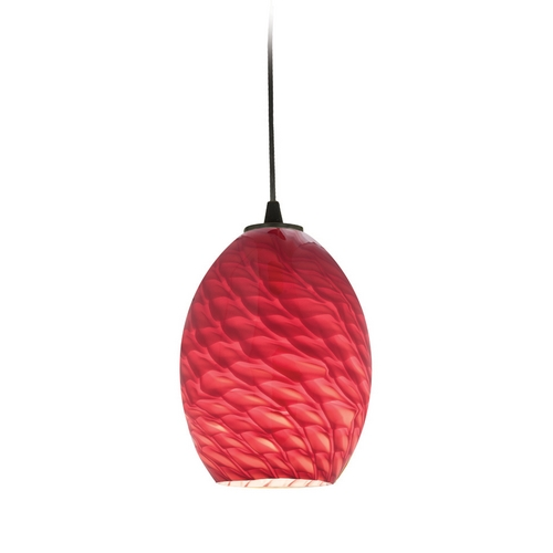 Access Lighting Modern Mini-Pendant Light with Red Glass 28023-2C-ORB/REDFB