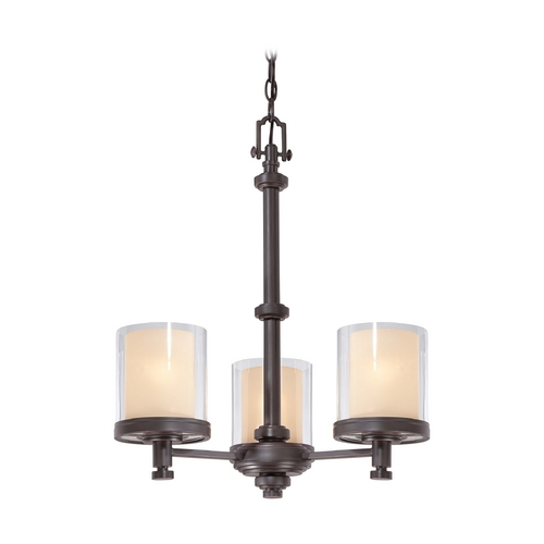 Nuvo Lighting Modern Mini-Chandelier with Beige / Cream Glass in Sudbury Bronze Finish 60/4547