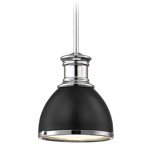 Design Classics Lighting Industrial Small Pendant Light Black with Chrome Accents 7.38-Inch Wide 1761-26 SH1775-07 R1775-26