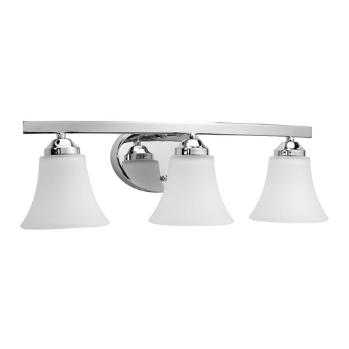 Progress Lighting Modern Bathroom Light with White Glass in Polished Chrome Finish P2010-15