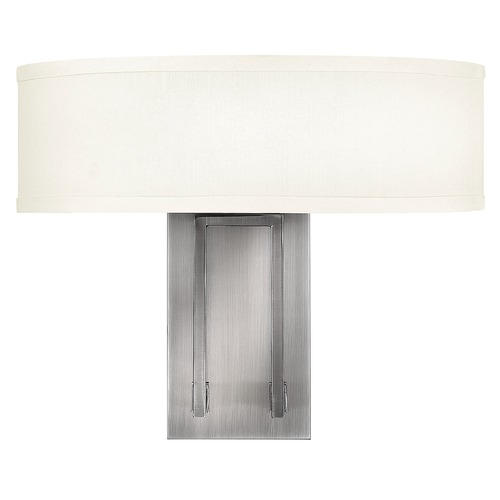 Hinkley Lighting Modern Sconce Wall Light with White Shade in Antique Nickel Finish 3202AN