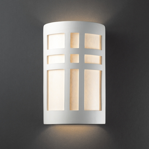Justice Design Group Outdoor Wall Light with White in Bisque Finish CER-7295W-BIS