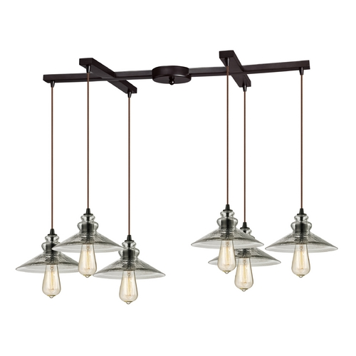 Elk Lighting Multi-Light Pendant Light with Grey Glass and 6-Lights 10332/6