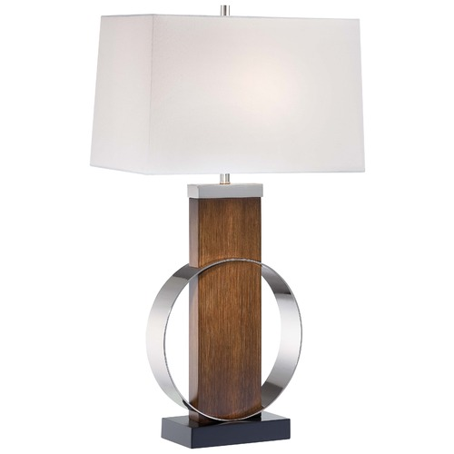 Minka Lavery Minka Did-Dye Brushed Painting & Polished Nickel Table Lamp with Rectangle Shade 10031-0