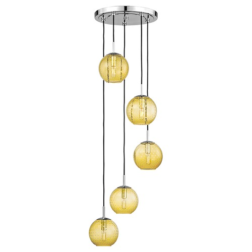 Hudson Valley Lighting Hudson Valley Lighting Rousseau Polished Chrome Multi-Light Pendant with Globe Shade 2035-PC-LA
