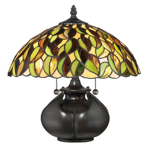 Quoizel Lighting Quoizel Lighting Tiffany Valiant Bronze Table Lamp with Bowl / Dome Shade TF3181T