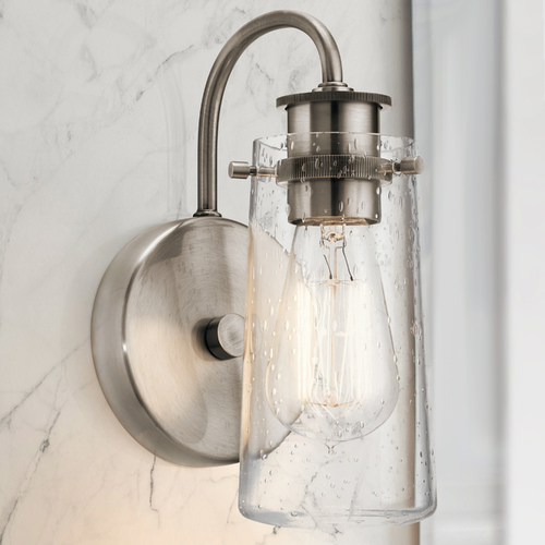 Kichler Lighting Seeded Glass Sconce Pewter Kichler Lighting 45457CLP