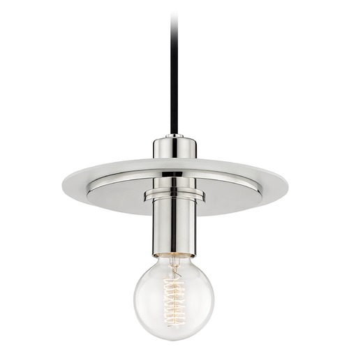 Hudson Valley Lighting Mid-Century Modern Mini-Pendant Light Polished Nickel / White Mitzi Milo by Hudson Valley H137701S-PN/WH