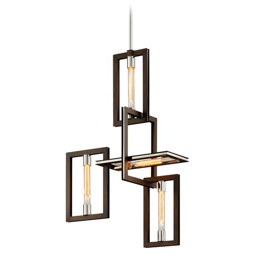 Troy Lighting Troy Lighting Enigma Bronze with Polished Stainless Pendant Light F6184