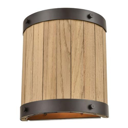 Elk Lighting Elk Lighting Wooden Barrel Oil Rubbed Bronze, Natural Wood Sconce 33360/2