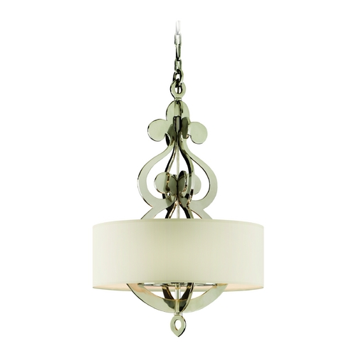 Corbett Lighting Drum Pendant Light with White Shade in Polished Nickel Finish 102-46