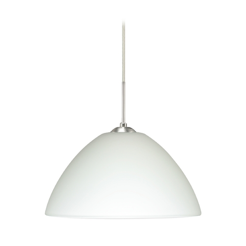 Besa Lighting Modern Pendant Light White Glass Satin Nickel by Besa Lighting 1JT-420107-SN