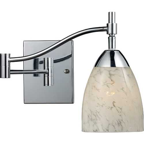 Elk Lighting Swing Arm Lamp with Art Glass in Polished Chrome Finish 10151/1PC-SW